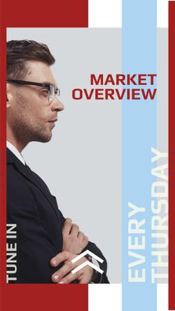 Market Strategy Ad with Businessman Instagram Story Modelo de Design