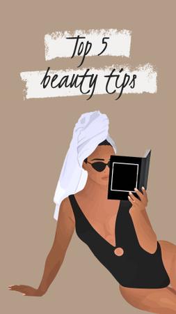 Szablon projektu Beauty Tips with Woman reading in Towel Instagram Video Story