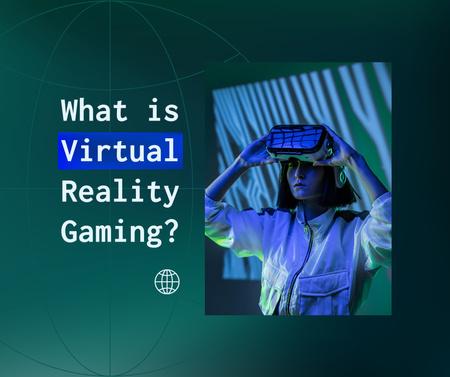 Ontwerpsjabloon van Facebook van Woman using Virtual Reality Glasses
