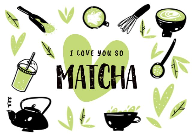 Cute Love Phrase with Beverages in Cups Card – шаблон для дизайну
