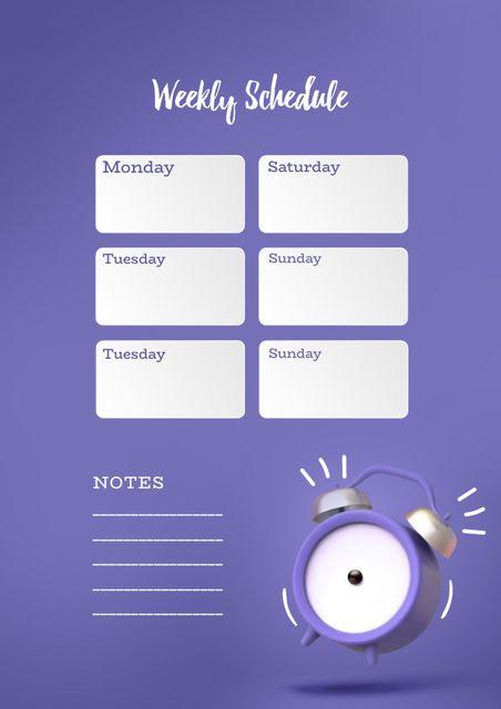 Weekly Schedule with Alarm Clock Schedule Planner Design Template