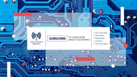 Electronics Promotion with Computer Circuit Board in Blue Youtube Design Template