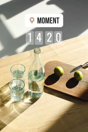 Plantilla de diseño de Pears and Glass of Water in Bed Pinterest