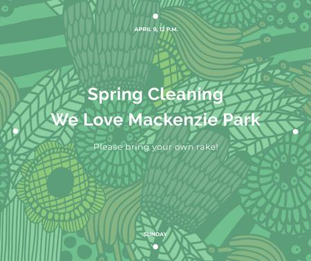Spring Cleaning Event Invitation Green Floral Texture Facebook Modelo de Design