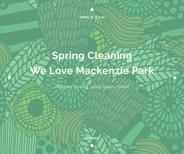 Spring Cleaning Event Invitation Green Floral Texture Facebook Modelo de Design