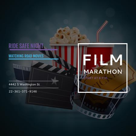 Film marathon night with Movie Attributes Instagram Modelo de Design