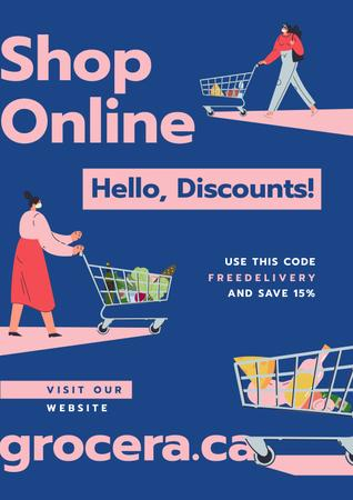 Template di design Online Shop Offer Women with groceries in baskets Poster
