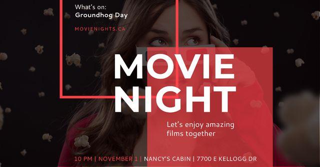 Modèle de visuel Movie night event Announcement on Groundhog Day - Facebook AD