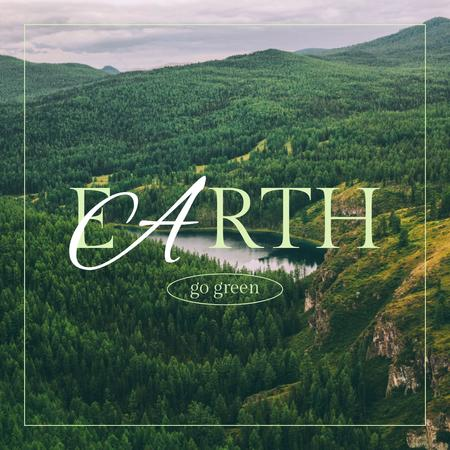 Eco Concept with Green Mountains Instagramデザインテンプレート