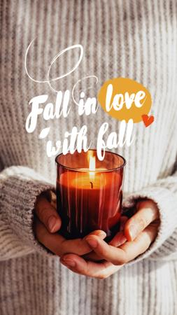 Autumn Inspiration with Girl holding Cozy Burning Candle Instagram Story Design Template