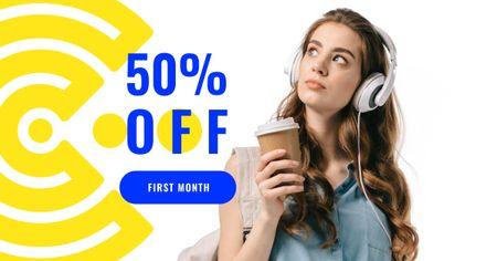 Online Courses Offer with Girl in Headphones Facebook ADデザインテンプレート