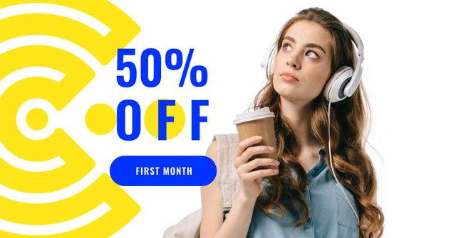 Template di design Online Courses Offer with Girl in Headphones Facebook AD