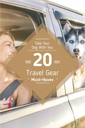 Woman with Dog Pet in Car Pinterest – шаблон для дизайну