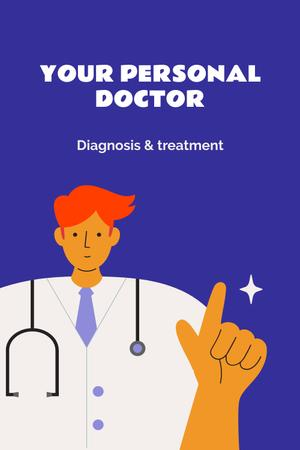 Doctor in uniform with stethoscope Pinterest Design Template