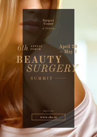 Young attractive woman at Beauty Surgery summit Invitation – шаблон для дизайна