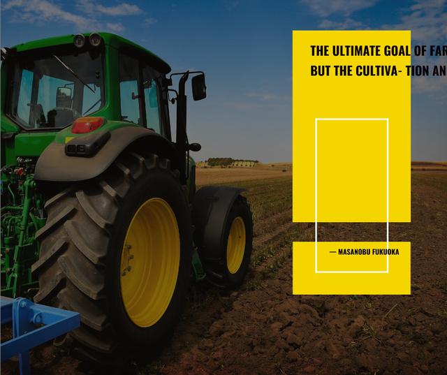 Agriculture Tractor Working in Field Facebook Modelo de Design