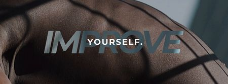 Motivational Phrase with Man doing Workout outdoors Facebook Video cover Modelo de Design