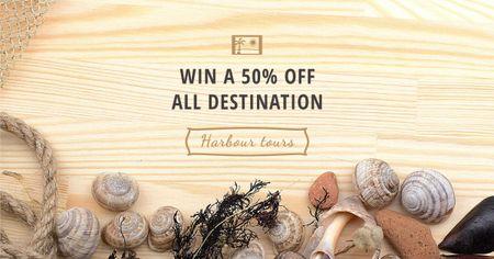 Plantilla de diseño de Giveaway offer with Shells on wooden background Facebook AD