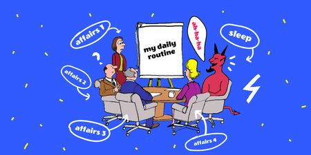 Funny Illustration about Daily Routine Twitter Design Template