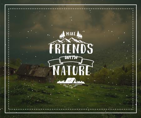 Ontwerpsjabloon van Facebook van Nature Quote Scenic Mountain View