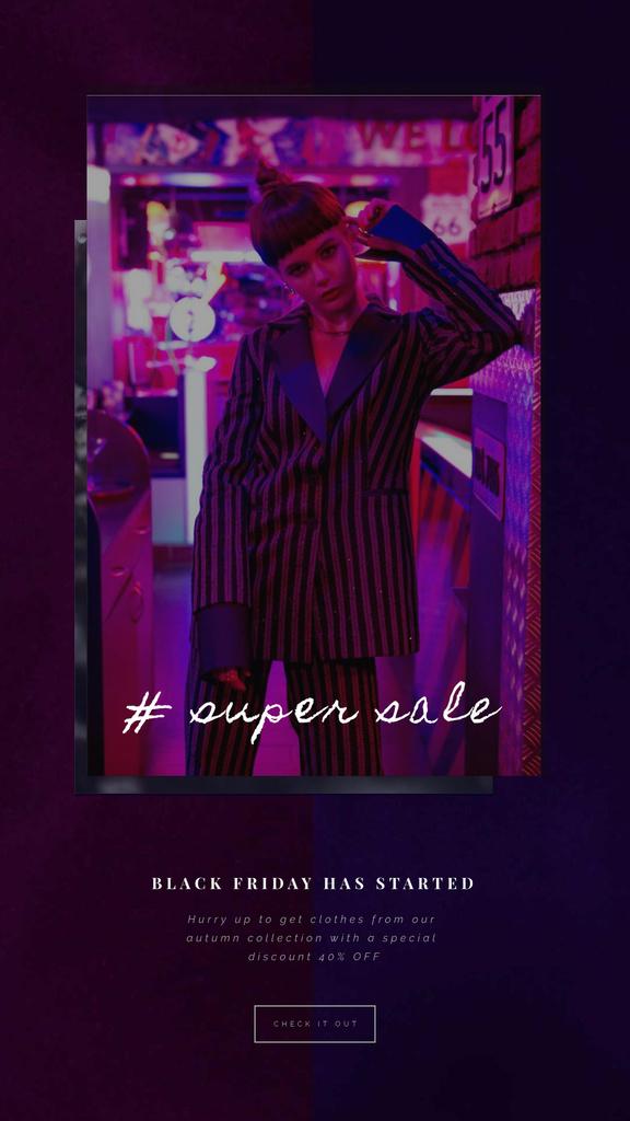 Black Friday Sale Woman in Pink Light — Crear un diseño