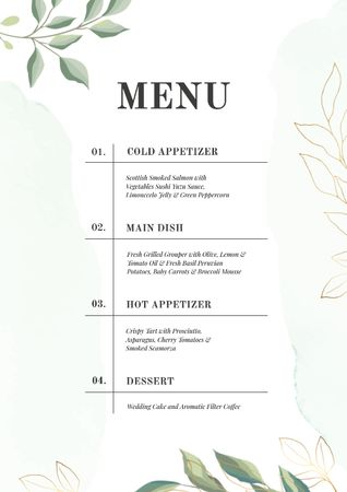 Ontwerpsjabloon van Menu van Course dishes in elegant style