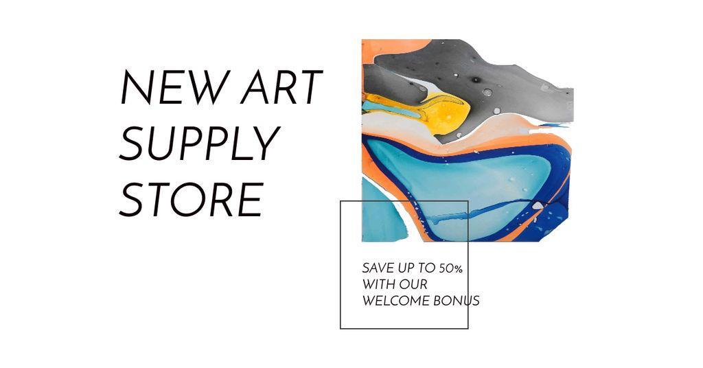 Designvorlage Colorful Blots of Watercolor für Facebook AD