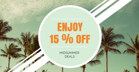 Template di design Midsummer Offer with Palms Facebook AD