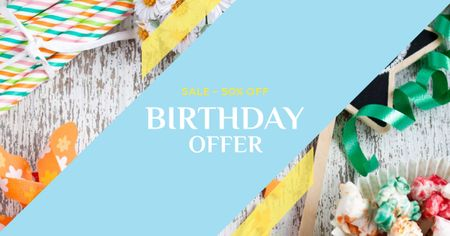 Modèle de visuel Birthday Offer with Festive Decoration - Facebook AD