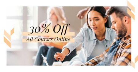 Online Course Offer with Students in Classroom Facebook AD Design Template