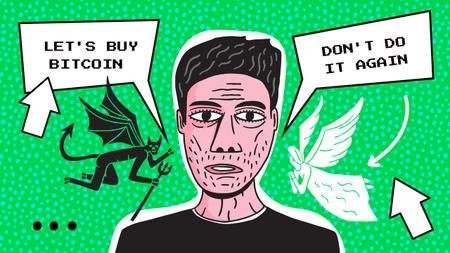 Funny Illustration of Man thinking of buying Bitcoin Youtube Thumbnail Modelo de Design