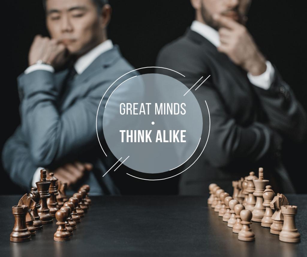 Quote on Chess table in front of Businessmen — Maak een ontwerp