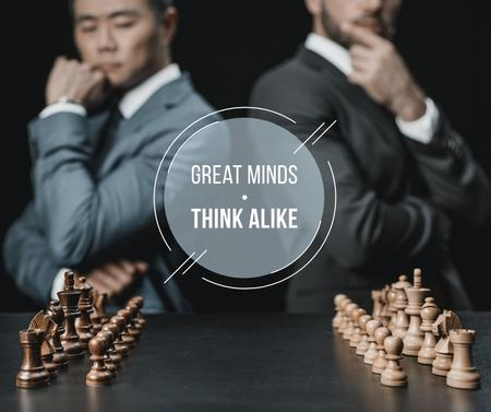 Quote on Chess table in front of Businessmen Facebook – шаблон для дизайну