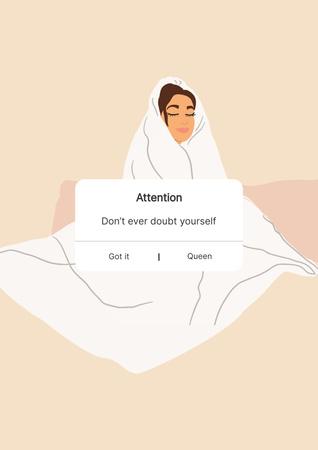 Girl Power Motivation with Cute Girl in Blanket Poster – шаблон для дизайну