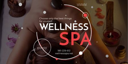 Ontwerpsjabloon van Twitter van Wellness spa Ad with Relaxing Woman