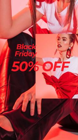 Black Friday discount offer with Stylish Girl Instagram Story – шаблон для дизайна