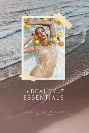 Plantilla de diseño de Beauty Ad with Woman in Bath with Lemons Pinterest