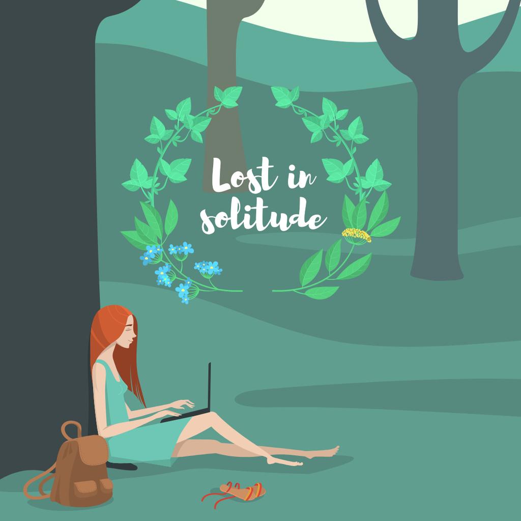 Solitude Inspiration with Girl Working on Laptop in Park — Maak een ontwerp