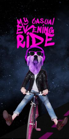 Modèle de visuel Funny Dog in Sunglasses riding Bicycle - Graphic