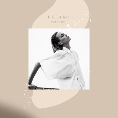 Stylish image of young Woman Album Cover – шаблон для дизайна