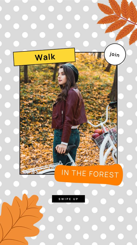 Autumn Inspiration with Girl in Park Instagram Story Modelo de Design