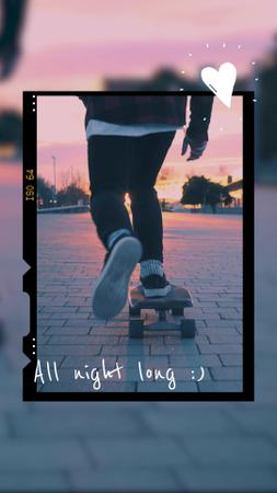 Summer Inspiration with Skateboarder riding on Sunset TikTok Video – шаблон для дизайна