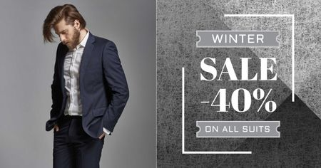 Suit sale advertisement with Stylish Man Facebook AD Modelo de Design
