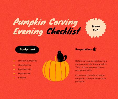 Halloween Event Announcement with Cat on Pumpkin Facebook Modelo de Design