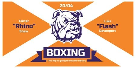 Boxing Match Announcement Bulldog on Orange Imageデザインテンプレート