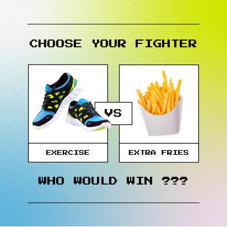 Funny Joke about Healthy Lifestyle Instagram Modelo de Design