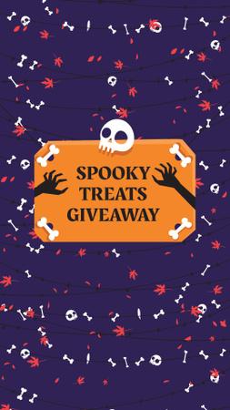 Halloween Treats Offer with Skull and Bones Instagram Story Modelo de Design