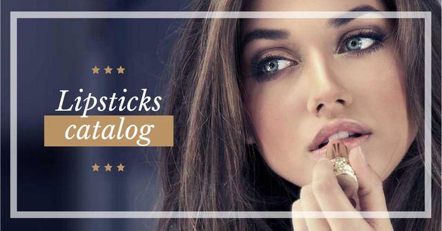 Lipstick Offer with Woman painting lips Facebook AD Tasarım Şablonu