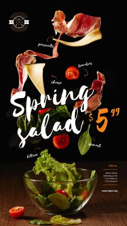 Spring Menu Offer with Salad Falling in Bowl Instagram Story Modelo de Design