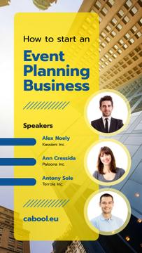 Business Conference Speakers on Skyscraper Background